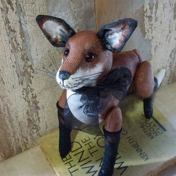 Foxy Lady: vintage style, soft sculpture animal, artist bear. Perfect for heirloom gift, baby room or child's room, or for the child in you!
