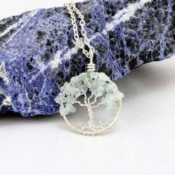 Petite Sterling Silver Tree Of Life Aquamarine Necklace On Sterling Chain Wire Wrapped Pendant Jewelry March Birthstone - Birthstone Series