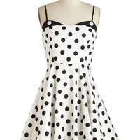 ModCloth Vintage Inspired Mid-length Spaghetti Straps Fit & Flare Connecticut the Dots Dress