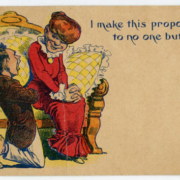 Romantic comic postcard - caricature proposal or proposition, cartoon drawing, sweet sentimental message, couple courting,