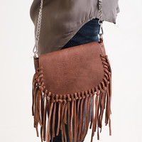 What The Fringe Brown Crossbody Bag - Final Sale