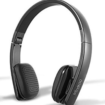 Mindkoo Bluetooth Wireless Stereo NFC Headphones-Comfortable On-ear Headset with built-in Microphone for Mobile Phones, iPad, Laptops (Black)
