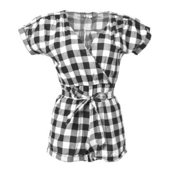 Plaid Summer Style Women Jumpsuit Black White Bodysuit Women Femme Romper Rompers Womens Jumpsuit Bow Overalls