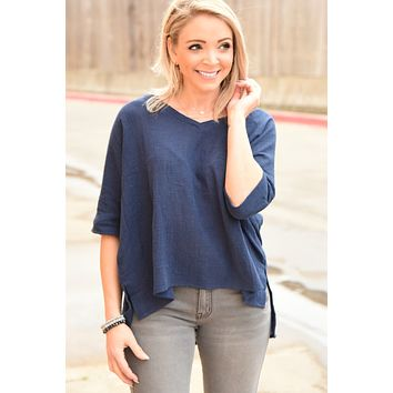 Fill My Days Top - Navy