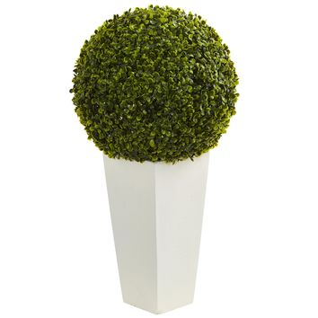 Artificial Plant -28 Inch Boxwood Topiary Ball with White Towernter Artificial