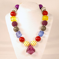 Girls Boutique Jewelry Gumball Necklace Fall colors Purple red yellow and Gray Chunky Beaded Necklace Flower Necklace