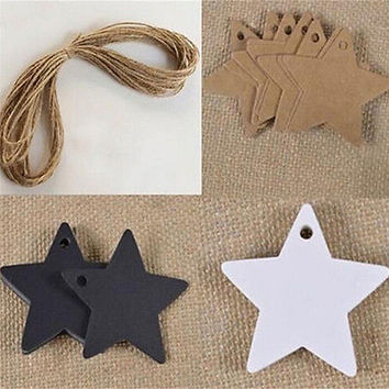 100pcs Star Kraft Paper Wedding Party Favor Gift Card Price Label Luggage TagsHU