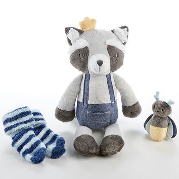 Rusty the Raccoon Plush Plus with Socks and Rattle for Baby