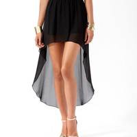 High-Low Contrast Waist Skirt