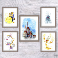 Beauty and the Beast print Set of 5 Disney princess poster Disney wall decor Kids room wall art Girls room decor Disney castle print V389