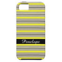 Yellow Horizontal Striped Pattern Add Your Name iPhone SE/5/5s Case