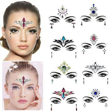 1PC Christmas DIY Eyebrow Face Body Art Adhesive Crystal Glitter Jewels Festival Party Eye Tattoo Stickers Xmas Decor Makeup Set