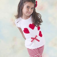 Red & White Chevron Double Ruffle Shorties Shorts - Toddler & Girl Sizes!