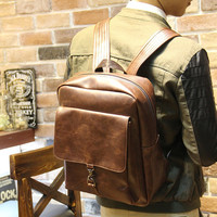 Vintage Men's 14 Inch Laptop Bag Brown Leather Backpack Travel Bag