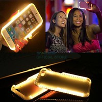 LED Selfie Light UP Flash Luxury Cell Phone Case For iPhone 6 6s 7 Plus Luminous Shockproof Cover For Samsung S6 S7 Edge
