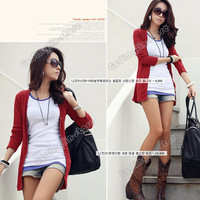 Autumn Women Korean Fashion Casual Knit Shirt Blouse Button Cardigan Coat Jacket