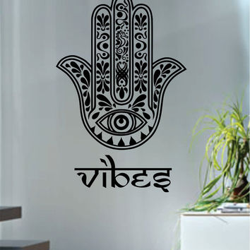 Hamsa Hand Vibes Version 7 Design Decal Sticker Wall Vinyl Decor Art