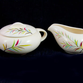 Mid Century Kasuga Japan Acanthus Sugar & Creamer Set -Beautiful Vintage Pattern