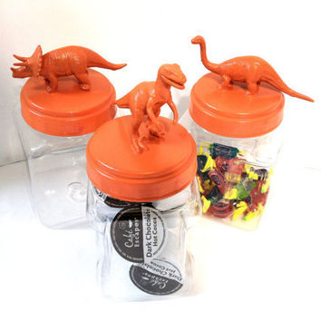 Orange Plastic Dinosaur Jars or Storage Containers - set of 3 - Kitchen, Dorm or Kids Room Decor