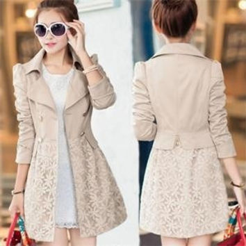 New Elegant Warm Long Slim Trench Women Full Sleeve Turn down Neck Double Breasted Lace Coats Autumn Winter Natural Color Trench = 1930083012