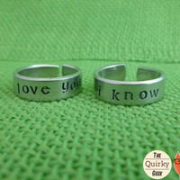 I Love you - I know - Star Wars Inspired  - Matching Hand Stamped Adjustable Rings