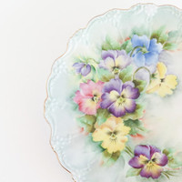 Hand Painted Pansies Decorative Serving Plate