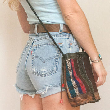 Peruvian Tooled Leather Crossbody Purse | Tribal Leather Bucket Bag | Vintage Boho Festival Drawstring Day Purse | 70s Bohemian Hippie Purse
