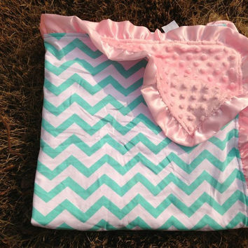 Baby Chevron Minky Knitted Cotton Blanket