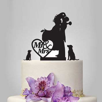 silhouette wedding Cake topper, custom name cake topper, Vintage cake topper, Personalized Wedding Cake, just married cake topper