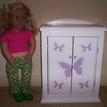 Armoire doll furniture bedroom chiffrobe Made for American girl purple butterfly design