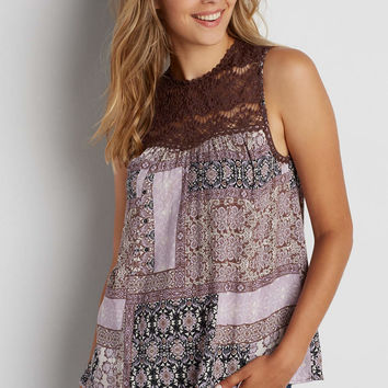 sleeveless patchwork print top with crocheted yoke | maurices