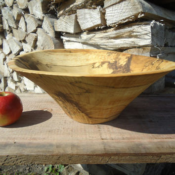 Large wood salad bowl - Large fruit bowl - Hand carved wood bowl - Large Maple wood bowl - Spalted Maple bowl - Hand carved Spalted Maple