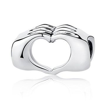Sterling Silver Love Heart in Your Hands Charms Beads Fingers with Heart Charms Fit Snake Chain Bracelets