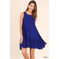 Royal Blue Sleeveless Dress with Ruffled Hem