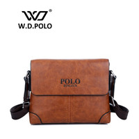 2016 W.D POLO Mens postage stylish messenger bag male shoulder khaki and brown color handbags gentle men work bags necessary1760