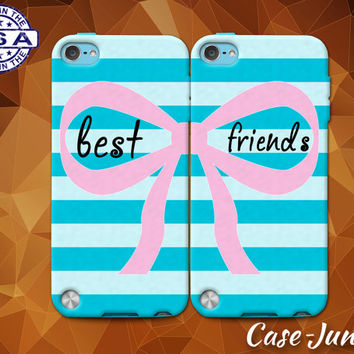 Blue Best Friends Pair Matching Stripe Bow Cute BFF Custom Case For iPhone 4 and 4s and iPhone 5 and 5s and 5c and iPhone 6 and 6 Plus +