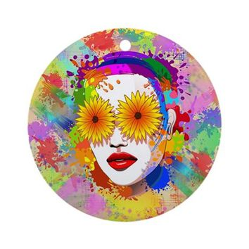 GIRL SUMMER FLOWERS EYES ROUND ORNAMENT