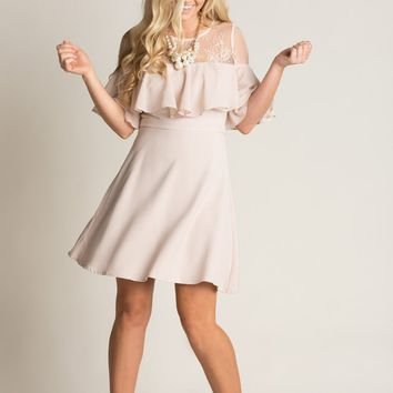 Karina Blush Lace Ruffle Dress