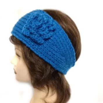 Women's Blue Large Crochet Flower Adjustable 2 Button Stretch Headband Ear Warmer Crochet Headband