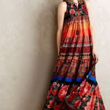 Enak Tiered Maxi Dress by Preeti S Kapoor Red Motif