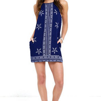 Mediterranean Sea Navy Blue Print Halter Dress
