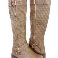 Taupe Quilted Knee High Riding Boots Faux Leather
