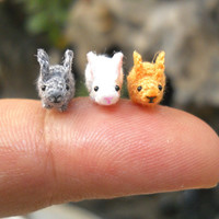 Teeny Tiny Bunny Rabbit - Micro Crochet Tiny Stuffed Animals - Set of 3 Rabbits - Made To Order