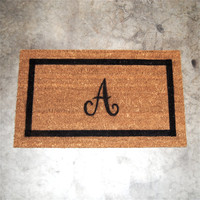 "Welcome Mat / Doormat With Personalized Monogram - 18x30"" made from natural coir"