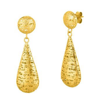 14K Yellow Gold Sanded Round Stud with Long Tear Drop Earring Stil Novo Colle Ction