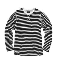 Striped French Terry Long Sleeve Black