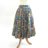 Square Dance Skirt Mid-Calf Length Sz S | Patterned Long Skirt Roses on Blue Backgrouund | Square Dance Clothes | Long Sq Dance Skirt