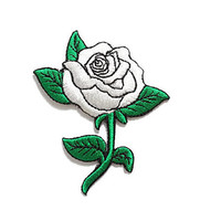 Rose Flower Gray Silver White Color New Sew on / Iron On Patch Embroidered Applique Size 6.5cm.x7.9cm.