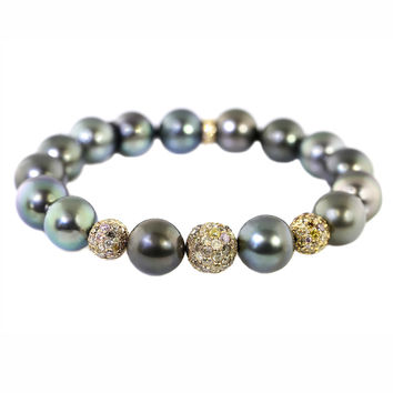 4.28ct Pave Fancy Diamond in Black Tahitian Pearl Stretch Bracelet