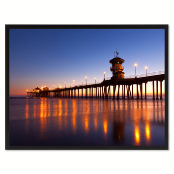 Huntington Beach California Orange Landscape Photo Canvas Print Pictures Frames Home Décor Wall Art Gifts